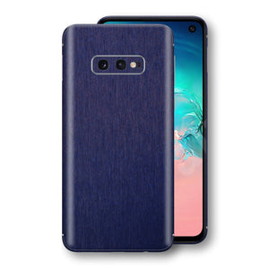 Samsung Galaxy S10e Brushed Blue Metallic Metal Skin, Decal, Wrap, Protector, Cover by EasySkinz | EasySkinz.com