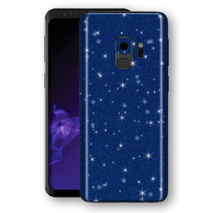 Samsung GALAXY S9 Diamond Blue Shimmering, Sparkling, Glitter Skin, Decal, Wrap, Protector, Cover by EasySkinz | EasySkinz.com