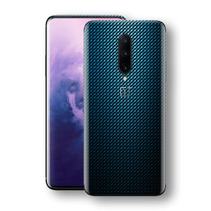 OnePlus 7 PRO Print Custom Signature Blue Grid Carbon Abstract Skin Wrap Decal by EasySkinz