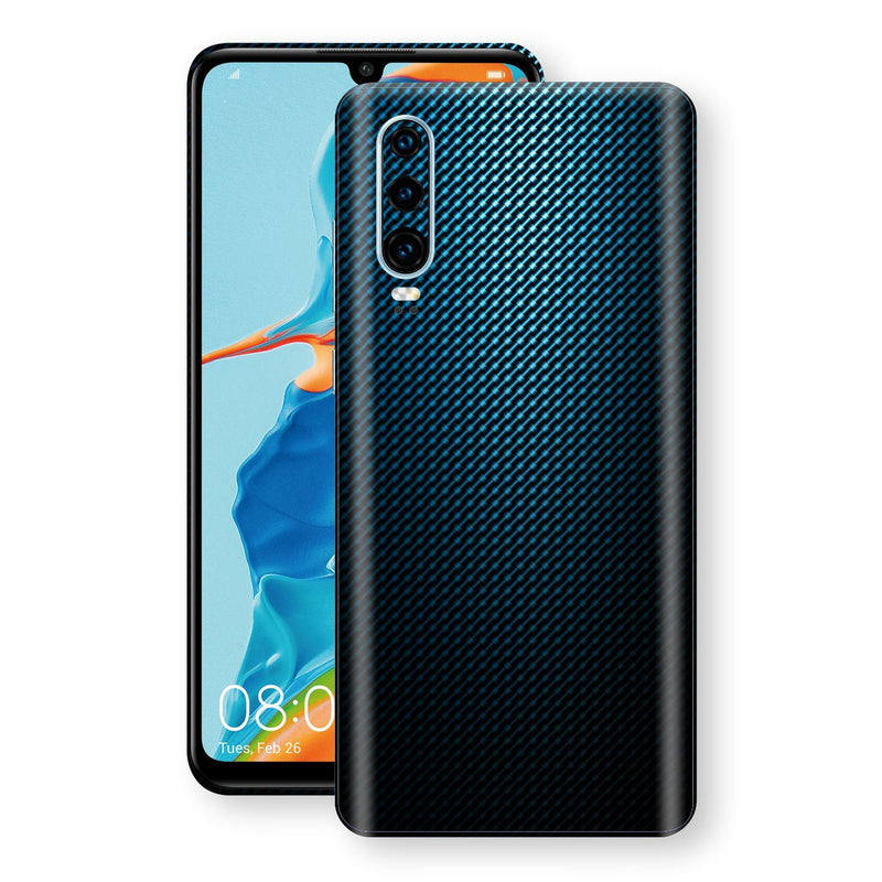 Huawei P30 Print Custom Signature Blue Grid Carbon Abstract Skin Wrap Decal by EasySkinz