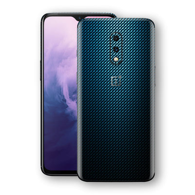 OnePlus 7 Print Custom Signature Blue Grid Carbon Abstract Skin Wrap Decal by EasySkinz