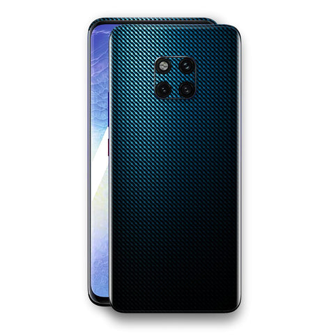 Huawei Mate 20 PRO Print Custom Signature Blue Grid Carbon Abstract Skin Wrap Decal by EasySkinz