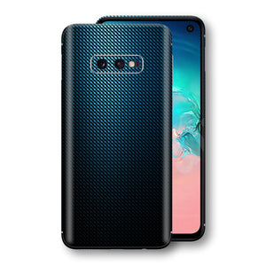 Samsung Galaxy S10e Print Custom Signature Blue Grid Carbon Abstract Skin Wrap Decal by EasySkinz