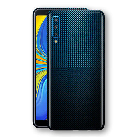 Samsung Galaxy A7 (2018) Print Custom Signature Blue Grid Carbon Abstract Skin Wrap Decal by EasySkinz