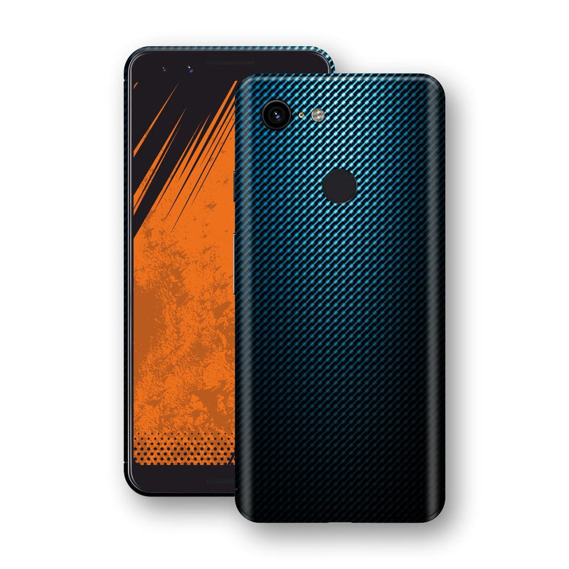 Google Pixel 3 Print Custom Signature Blue Grid Carbon Abstract Skin Wrap Decal by EasySkinz