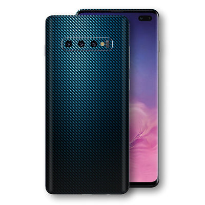 Samsung Galaxy S10+ PLUS Print Custom Signature Blue Grid Carbon Abstract Skin Wrap Decal by EasySkinz