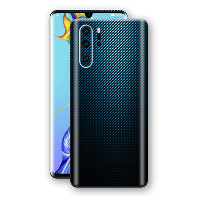 Huawei P30 PRO Print Custom Signature Blue Grid Carbon Abstract Skin Wrap Decal by EasySkinz