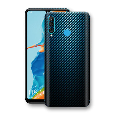 Huawei P30 LITE Print Custom Signature Blue Grid Carbon Abstract Skin Wrap Decal by EasySkinz