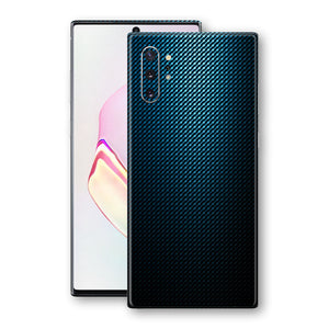 Samsung Galaxy NOTE 10+ PLUS Print Custom Signature Blue Grid Carbon Abstract Skin Wrap Decal by EasySkinz