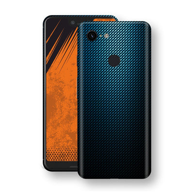 Google Pixel 3 XL Print Custom Signature Blue Grid Carbon Abstract Skin Wrap Decal by EasySkinz