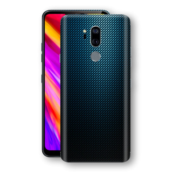 LG G7 ThinQ Print Custom Signature Blue Grid Carbon Abstract Skin Wrap Decal by EasySkinz
