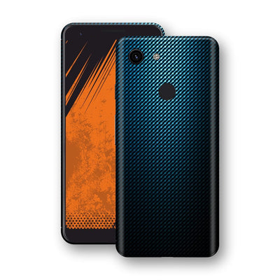 Google Pixel 3a XL Print Custom Signature Blue Grid Carbon Abstract Skin Wrap Decal by EasySkinz