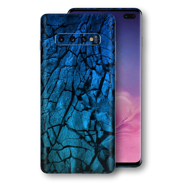 Samsung Galaxy S10+ PLUS Print Custom Signature Charcoal BLUE Abstract Skin Wrap Decal by EasySkinz