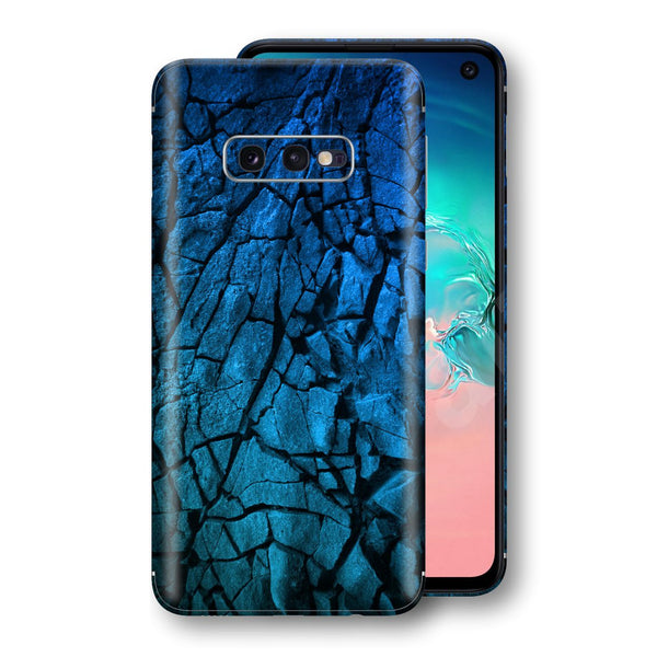 Samsung Galaxy S10e Print Custom Signature Charcoal BLUE Abstract Skin Wrap Decal by EasySkinz