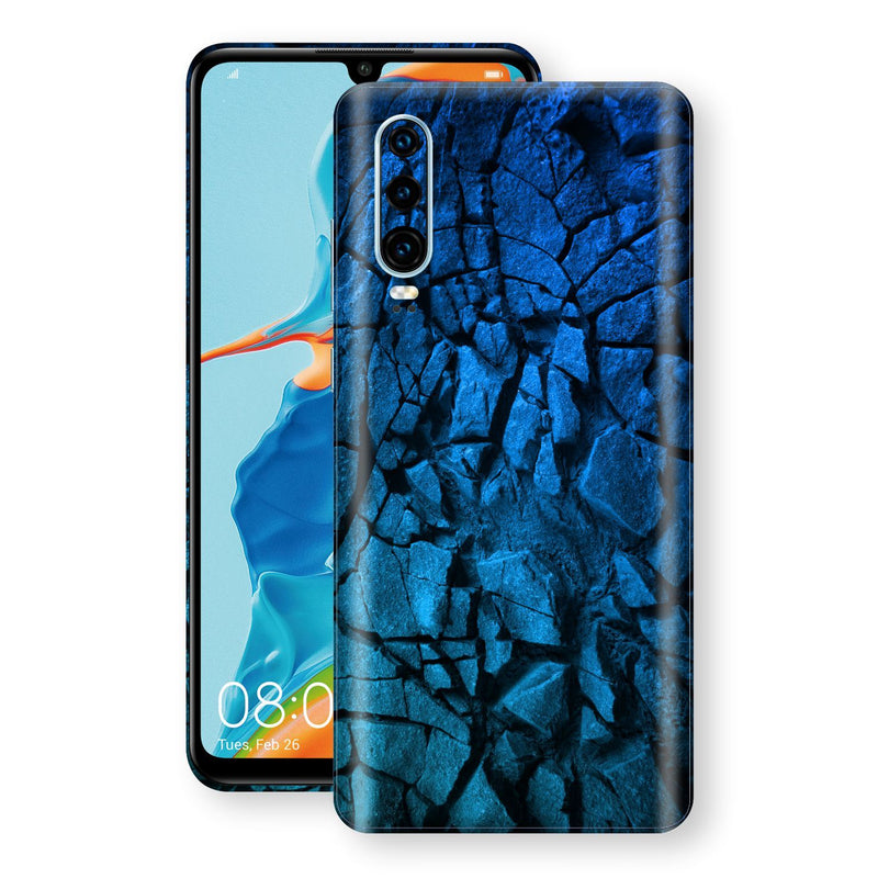 Huawei P30 Print Custom Signature Charcoal BLUE Abstract Skin Wrap Decal by EasySkinz