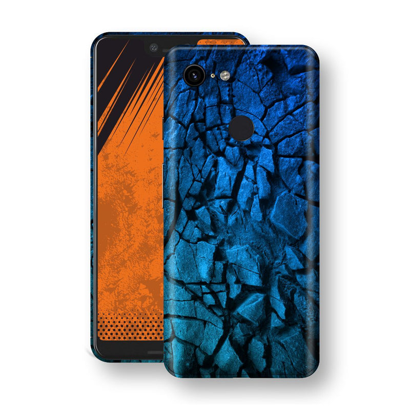 Google Pixel 3 XL Print Custom Signature Charcoal BLUE Abstract Skin Wrap Decal by EasySkinz