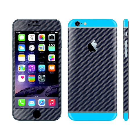 iPhone 6S NAVY BLUE Carbon Fibre Fiber Skin with Blue Matt Highlights Cover Decal Wrap Protector Sticker by EasySkinz