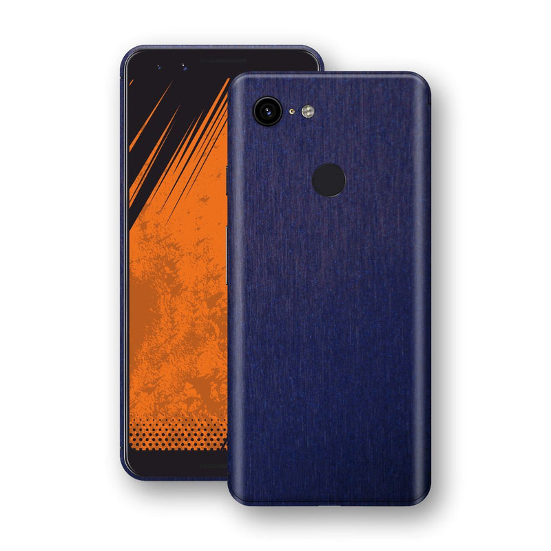 Google Pixel 3 Brushed Blue Metallic Metal Skin, Decal, Wrap, Protector, Cover by EasySkinz | EasySkinz.com