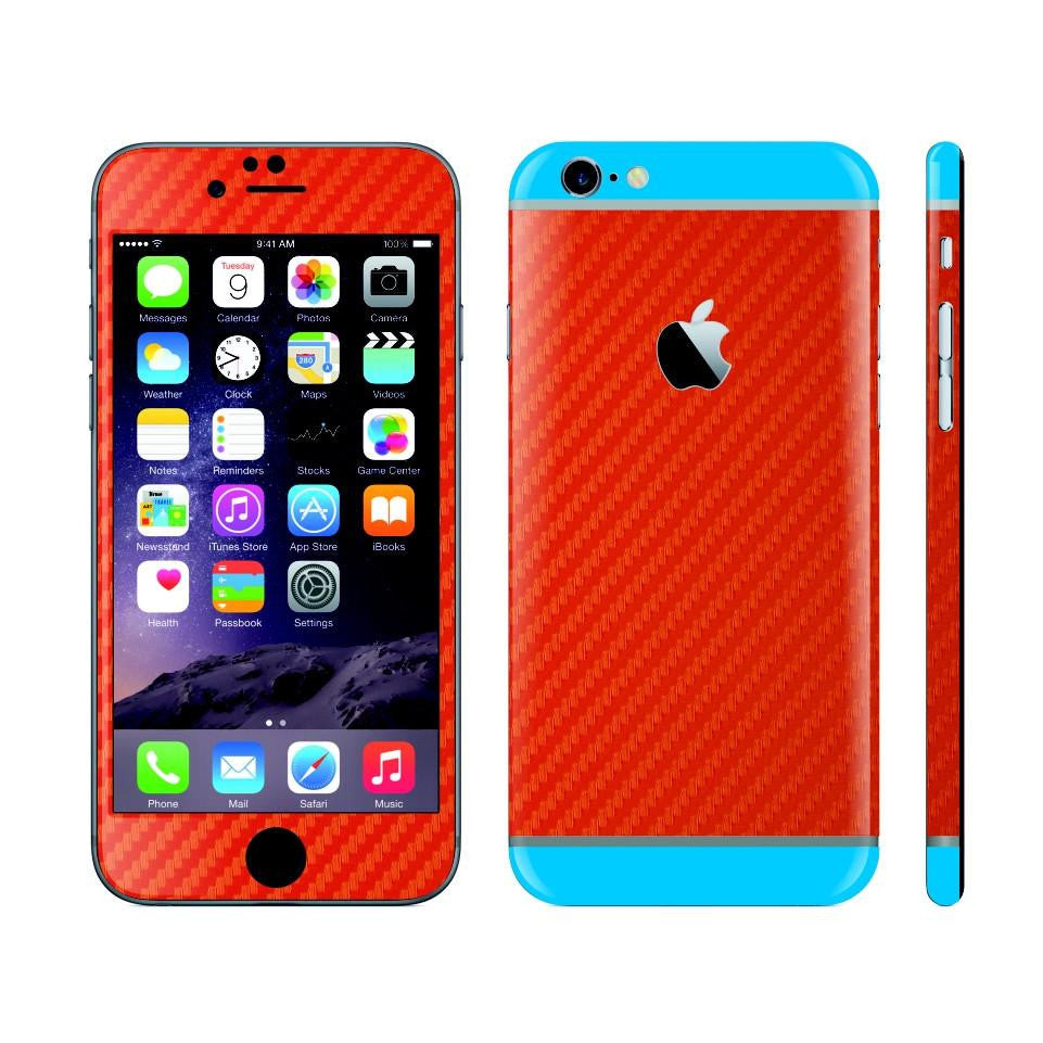 iPhone 6S PLUS RED Carbon Fibre Fiber Skin with Blue Matt Highlights Cover Decal Wrap Protector Sticker by EasySkinz