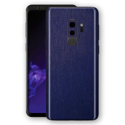 Samsung GALAXY S9+ PLUS Brushed Blue Metallic Metal Skin, Decal, Wrap, Protector, Cover by EasySkinz | EasySkinz.com