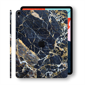 iPad Pro 11 inch 2018 Signature Marble Blue-Gold Printed Skin Wrap Decal Protector | EasySkinz