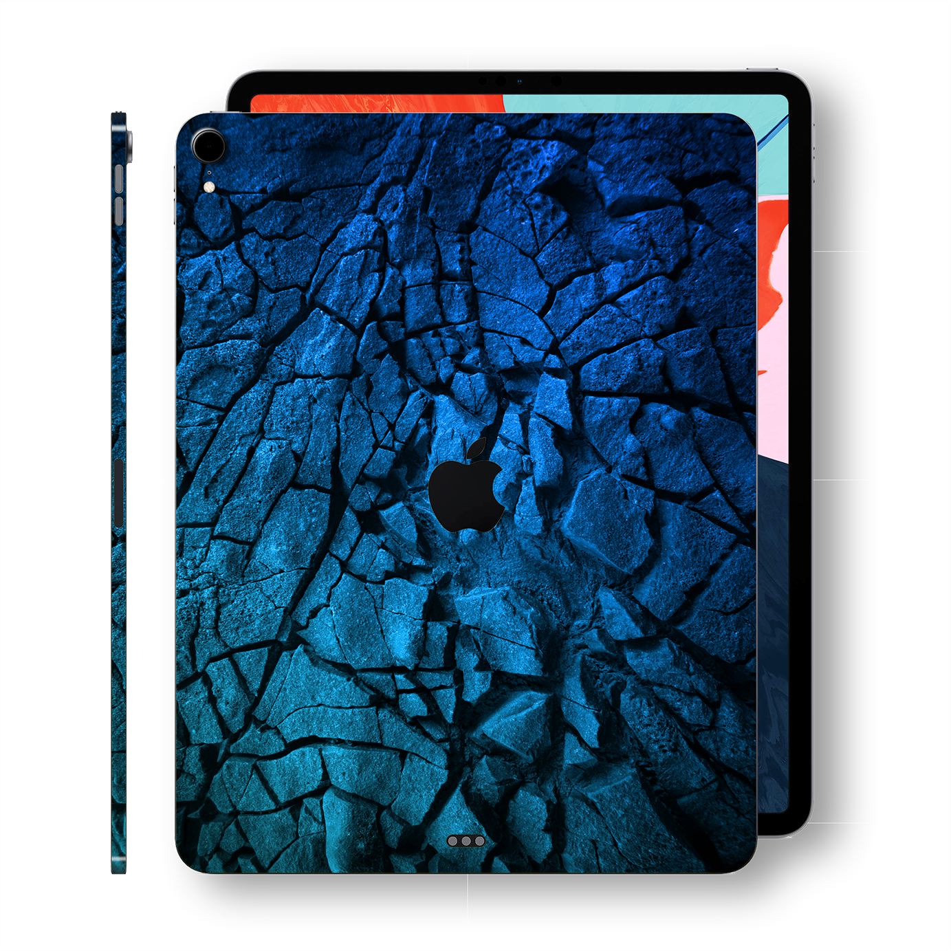 "iPad PRO 11"" inch 2018 Signature Charcoal BLUE Abstract Printed Skin Wrap Decal Protector 