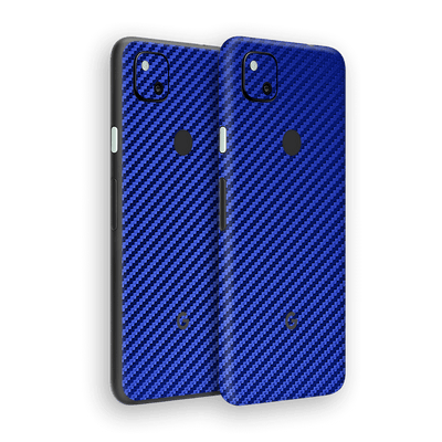 Google Pixel 4a 3D Textured Blue Carbon Fibre Fiber Skin Wrap Sticker Decal Cover Protector by EasySkinz