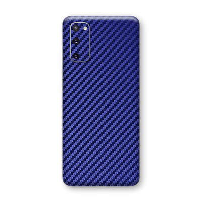 Samsung Galaxy S20 3D Textured Blue Carbon Fibre Fiber Skin Wrap Sticker Decal Cover Protector by EasySkinz