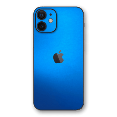 iPhone 12 Satin Blue Metallic Skin Wrap Decal Protector Cover by EasySkinz | EasySkinz.com