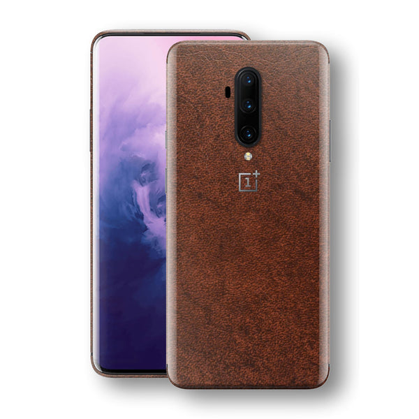 OnePlus 7T PRO BROWN Leather Skin Wrap Decal Protector | EasySkinz