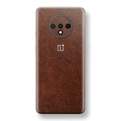 OnePlus 7T BROWN Leather Skin Wrap Decal Protector | EasySkinz