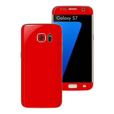Samsung Galaxy S7 Glossy BRIGHT RED Skin Wrap Decal Sticker Cover Protector by EasySkinz