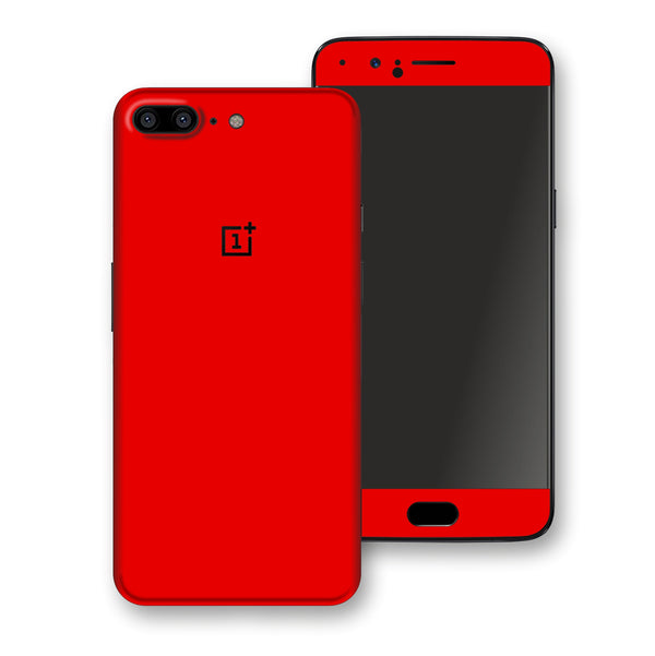 OnePlus 5 Bright Red Glossy Gloss Finish Skin, Decal, Wrap, Protector, Cover by EasySkinz | EasySkinz.com