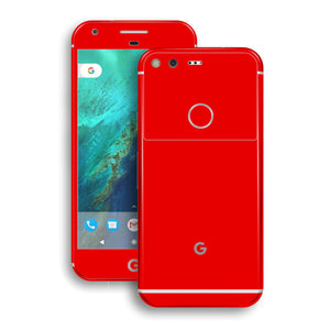 Google Pixel XL Glossy Bright Red Skin Wrap Decal by EasySkinz