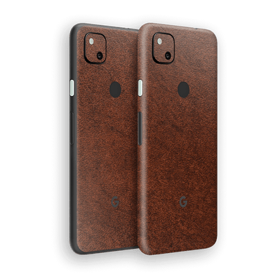 Google Pixel 4a BROWN Leather Skin Wrap Sticker Decal Cover Protector by EasySkinz