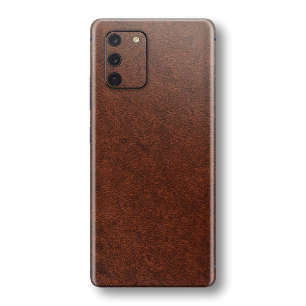 Samsung Galaxy S10 LITE BROWN Leather Skin Wrap Sticker Decal Cover Protector by EasySkinz