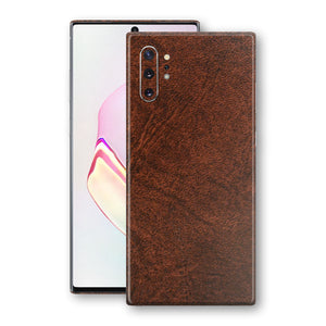 Samsung Galaxy NOTE 10+ PLUS BROWN Leather Skin Wrap Decal Protector | EasySkinz