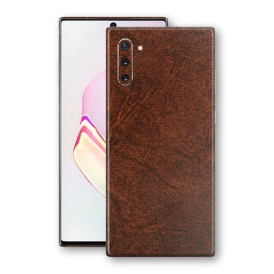 Samsung Galaxy NOTE 10 BROWN Leather Skin Wrap Decal Protector | EasySkinz