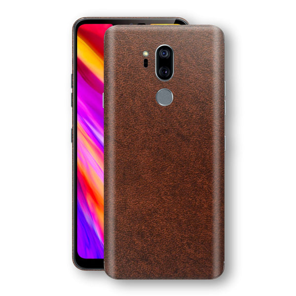 LG G7 ThinQ Luxuria BROWN Leather Skin Wrap Decal Protector | EasySkinz
