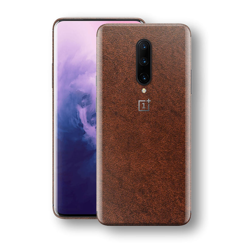 OnePlus 7 PRO BROWN Leather Skin Wrap Decal Protector | EasySkinz