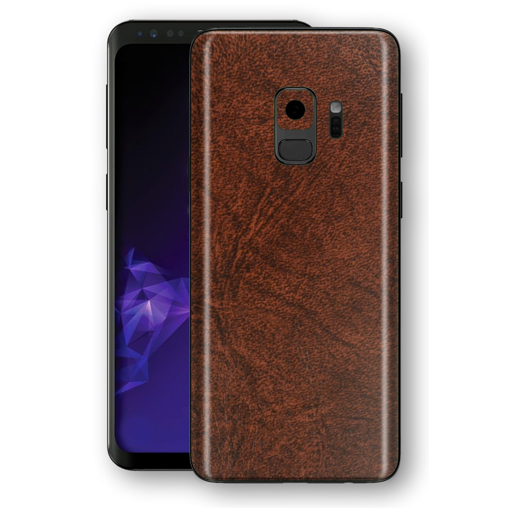 Samsung GALAXY S9 Luxuria BROWN Leather Skin Wrap Decal Protector | EasySkinz