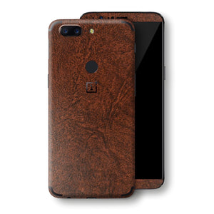 OnePlus 5T Luxuria BROWN Leather Skin Wrap Decal Protector | EasySkin