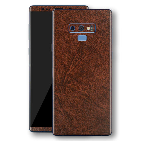 Samsung Galaxy NOTE 9 Luxuria BROWN Leather Skin Wrap Decal Protector | EasySkinz