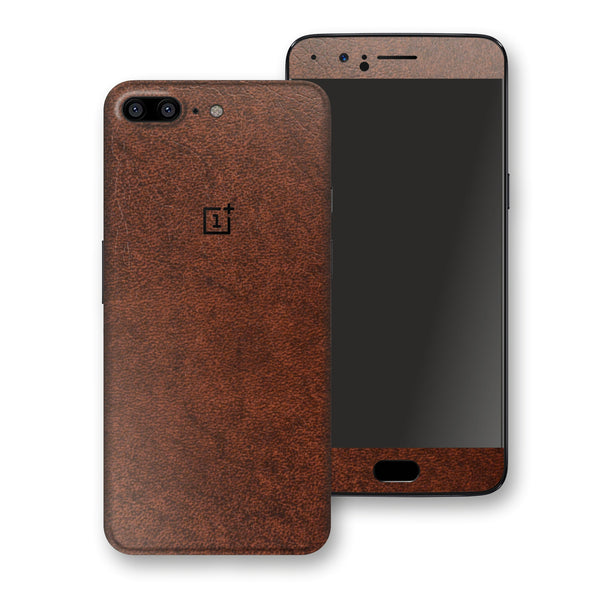 OnePlus 5 Luxuria BROWN Leather Skin Wrap Decal Protector | EasySkinz