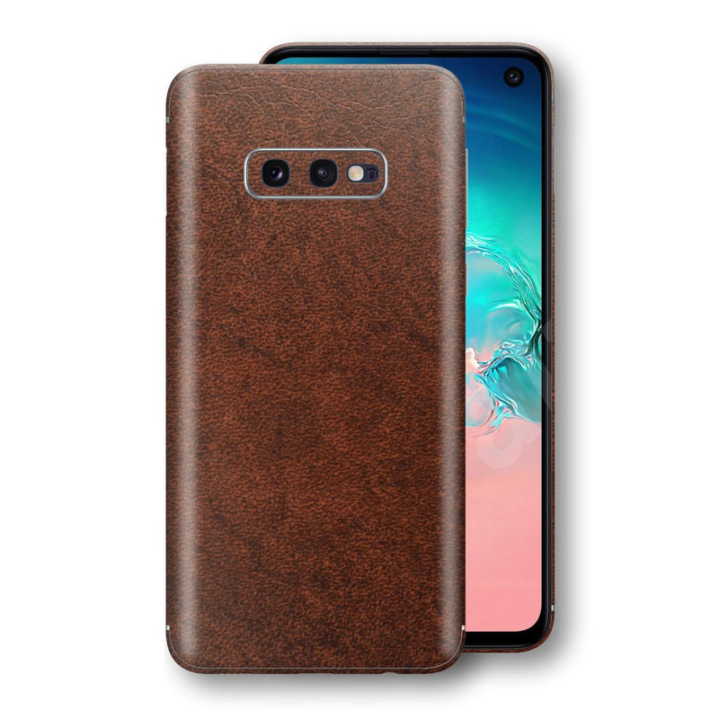 Samsung Galaxy S10e Luxuria BROWN Leather Skin Wrap Decal Protector | EasySkinz