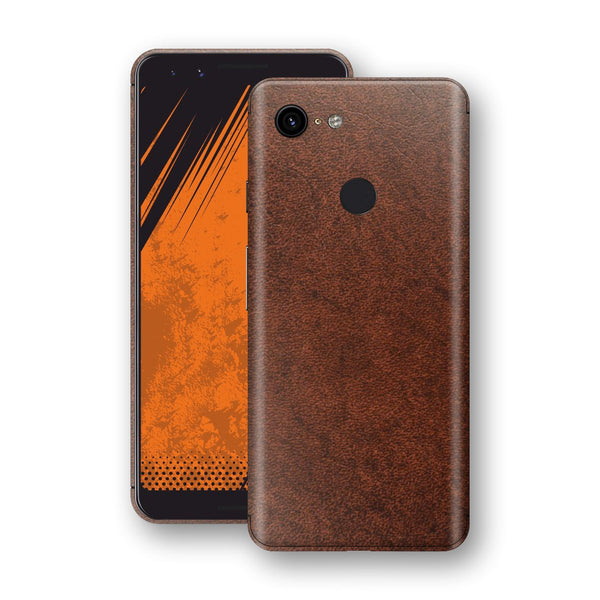 Google Pixel 3 BROWN Leather Skin Wrap Decal Protector | EasySkinz