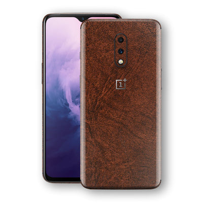 OnePlus 7 BROWN Leather Skin Wrap Decal Protector | EasySkinz