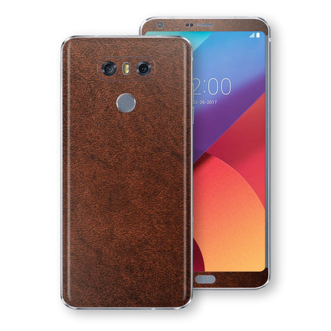 LG G6 Luxuria BROWN Leather Skin Wrap Decal Protector | EasySkin