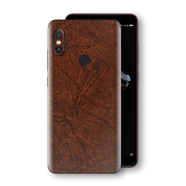 XIAOMI Redmi NOTE 5 Luxuria BROWN Leather Skin Wrap Decal Protector | EasySkinz