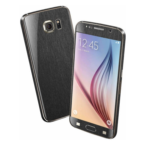 Samsung Galaxy S6 3M Brushed Black Metallic Skin Wrap Sticker Cover Protector Decal by EasySkinz